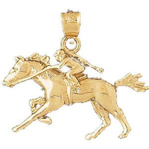 Horse and Horseman Charm Pendant 14k Gold