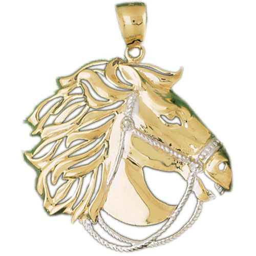 Horse Head Charm Pendant 14k Two Tone Yellow and White Gold