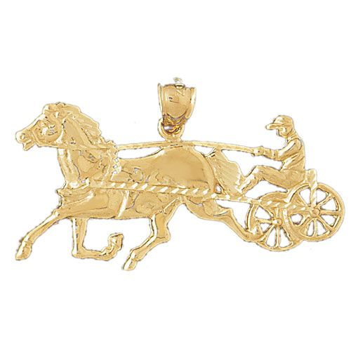 Horse with Wagon Charm Pendant 14k Gold