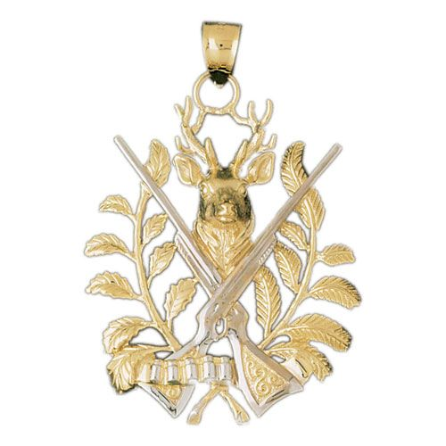Deer and Hunting Guns Charm Pendant 14k Two Tone Yellow and White Gold