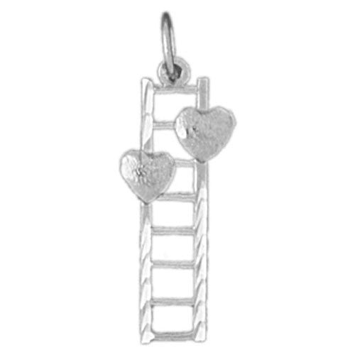 Double Heart on Ladder Charm Pendant 14k White Gold