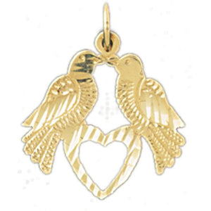 Lovebirds Charm Pendant 14k Gold