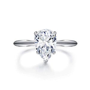 2ct Teardrop Pear Cut Cubic Zirconia CZ Rhodium Plated Sterling Silver Engagement Ring