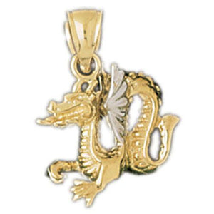 3D Dragon Charm Pendant 14k Two Tone Yellow and White Gold