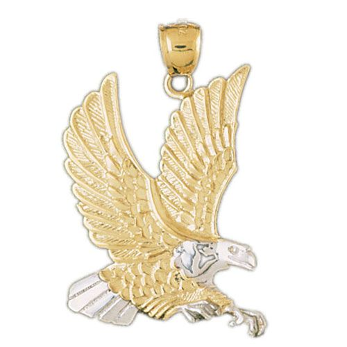 Eagle Charm Pendant 14k Two Tone Yellow and White Gold