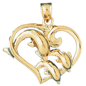 Dolphins Heart Charm Pendant 14k Gold