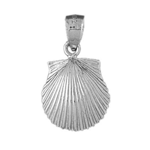 Seashell Charm Pendant 14k White Gold