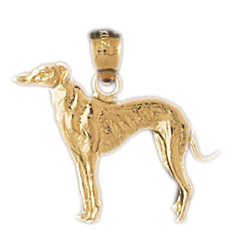 Gold Greyhound Dog Charm Pendant 14k Gold