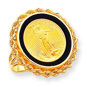 14k  110oz American Eagle Onyx Rope Bezel Ring Mounting