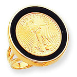 14k  110oz Mounted American Eagle Plain Onyx Bezel Ring