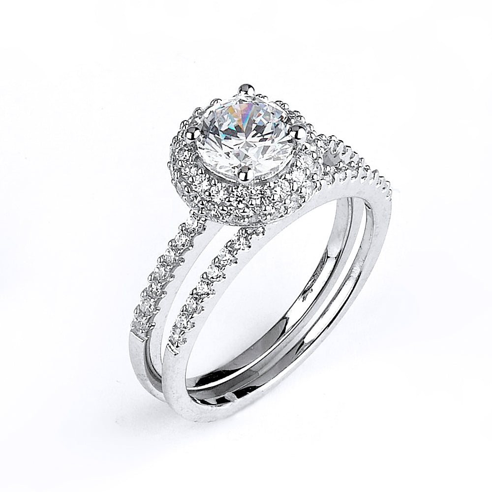 Sterling silver CZ wedding ring with an engagment ring with rhodium plating