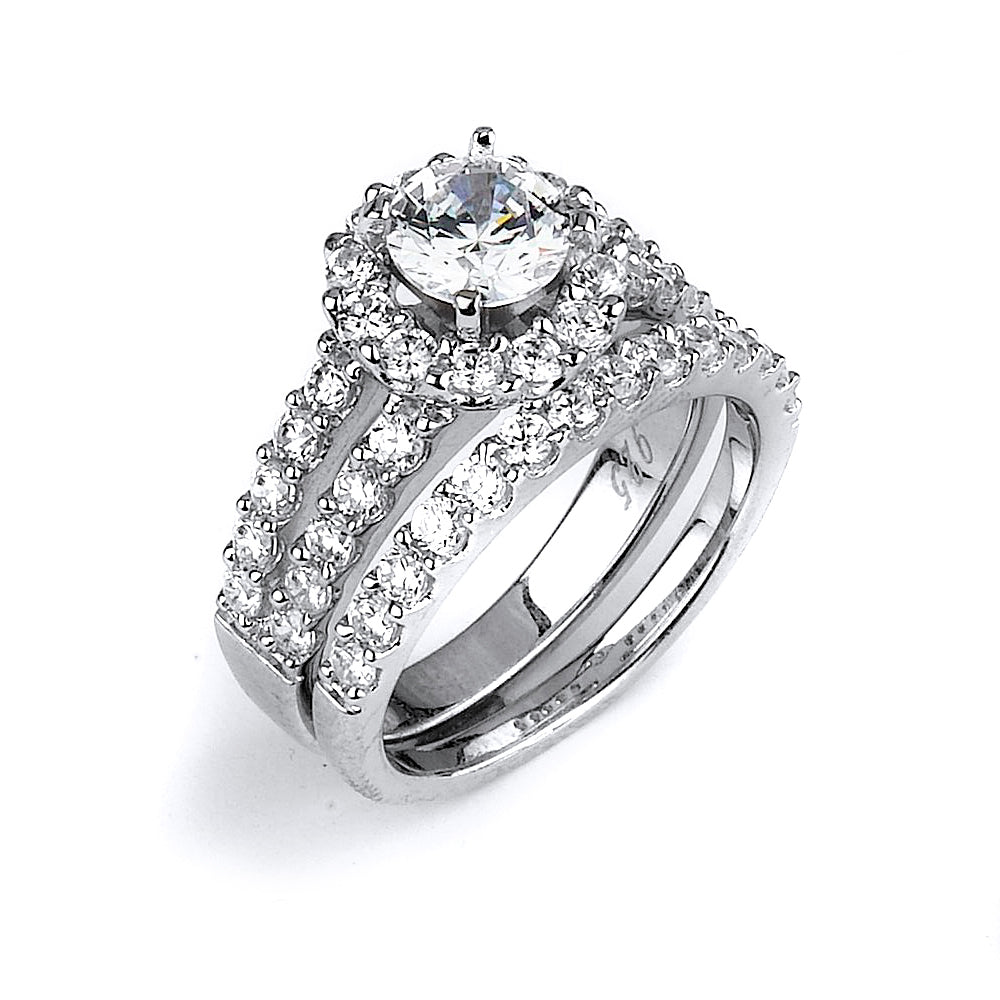 Sterling silver CZ wedding ring with a double shank halo engagement ring with rhodium plating