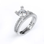 Sterling silver CZ wedding ring with an engagement ring with rhodium plating