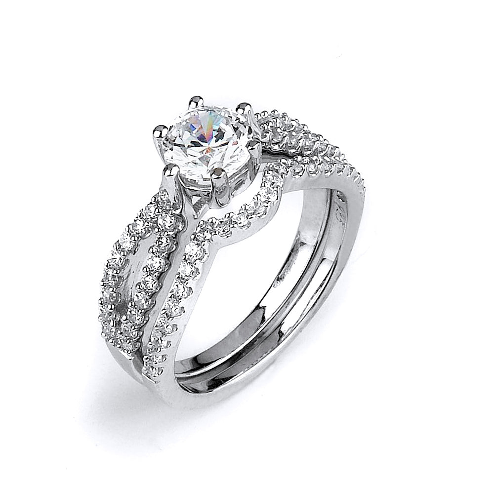 Sterling silver CZ wedding ring with a double shank engagement ring with rhodium plating