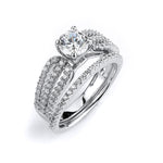 Sterling silver CZ wedding ring with a triple shank engagment ring with rhodium plating