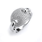 Sterling silver link CZ ring
