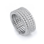 Sterling silver stackable 5 rows of pave cubic zirconia ring