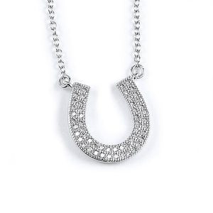 Sterling silver horseshoe pendant with micro-pave CZ