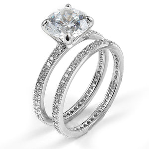 Sterling silver CZ dual wedding and engagement with rhodium plating