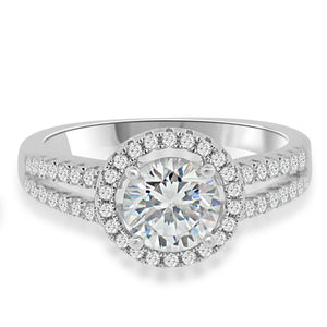 Sterling Silver Rhodium Plated and CZ Halo Engagement Ring