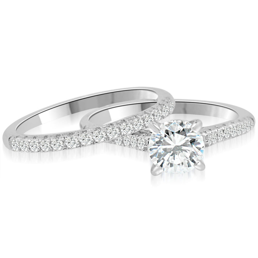 Sterling Silver Rhodium Plated and CZ Engagement Ring with Matching Band