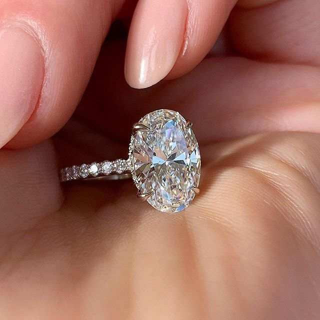 Oval CZ Stone Engagement Ring