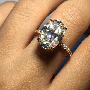 5 Carats Oval Cut Women Wedding Rings Cubic Zirconia CZ Engagement Ring Rose Tone Plated 925 Sterling Silver