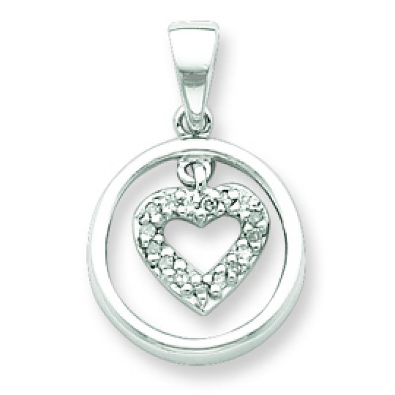 Sterling Silver Diamond Rhodium Heart in Circle Pendant