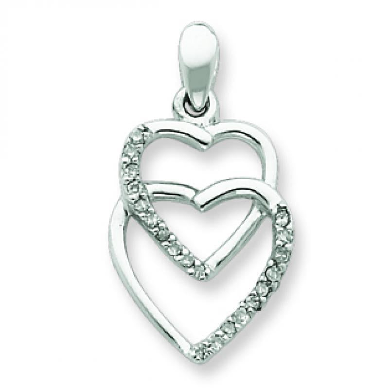 Sterling Silver Diamond Entwining Heart Pendant