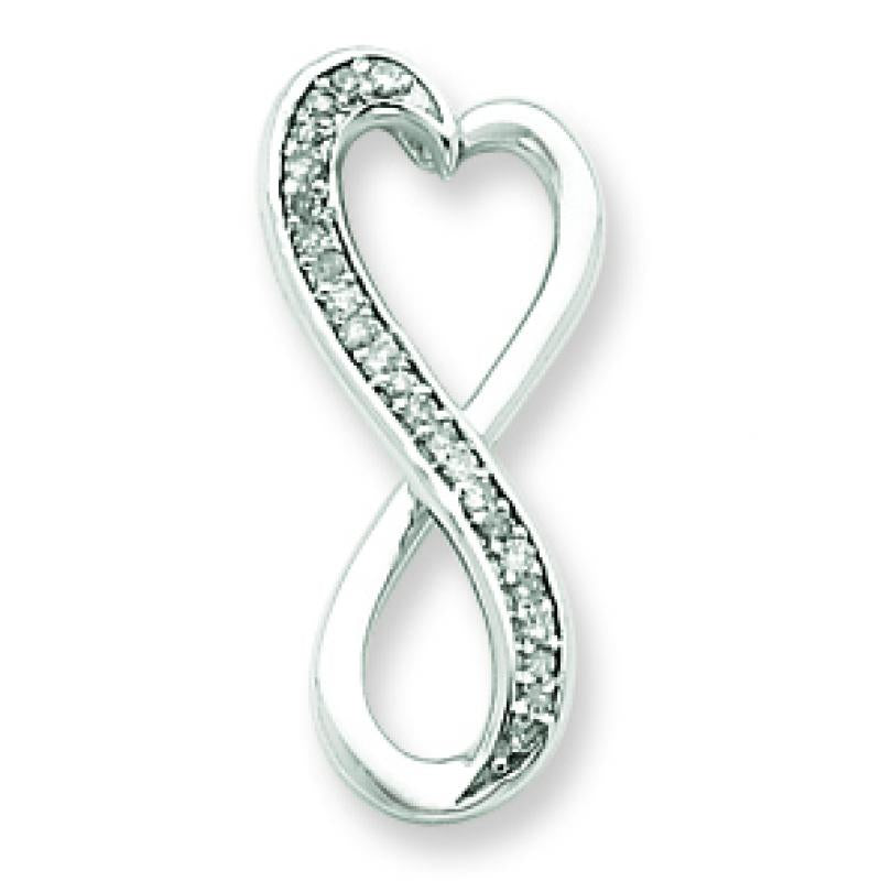 Sterling Silver Diamond Freeform Heart Pendant