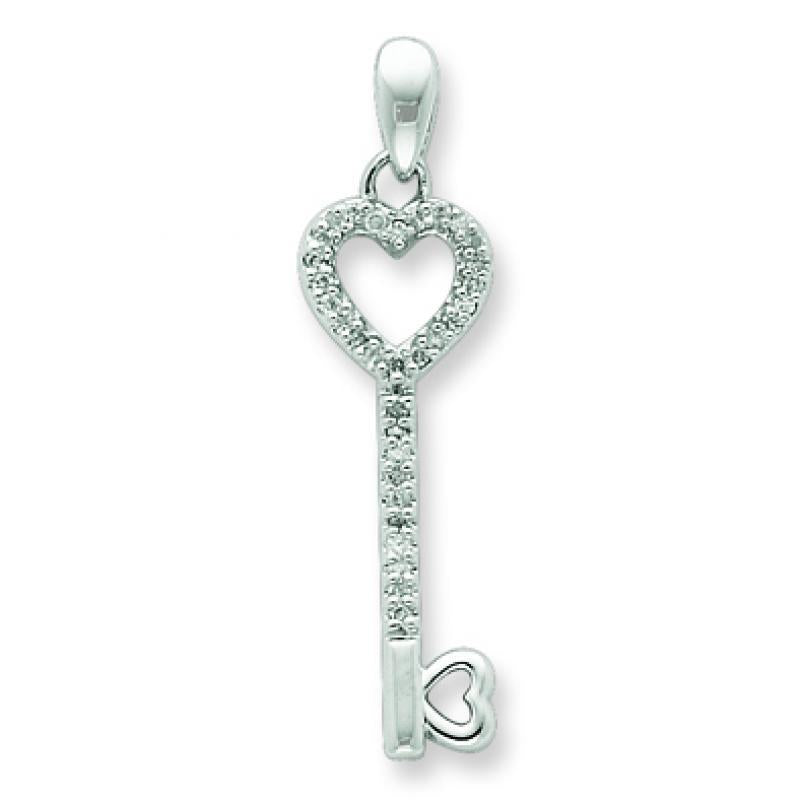 Sterling Silver Diamond Heart Key Pendant