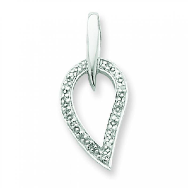 Sterling Silver Rhodium Diamond Pendant