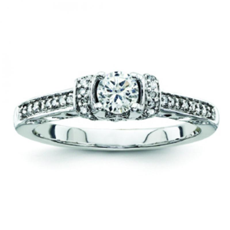 Sterling Silver Diamond Engagement Ring