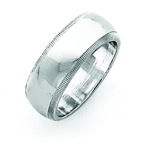 Sterling Silver 0.27 inch Milgrain Band