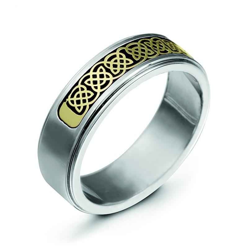 Sterling Silver 6.5mm Step Down with 14k Inlay Antiqued Polished Band