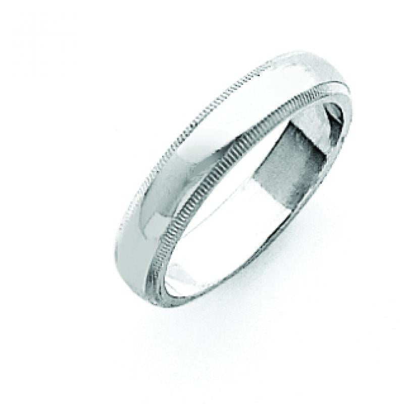 Sterling Silver 0.16 inch Milgrain Band