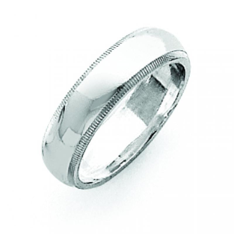 Sterling Silver 0.2 inch Milgrain Band
