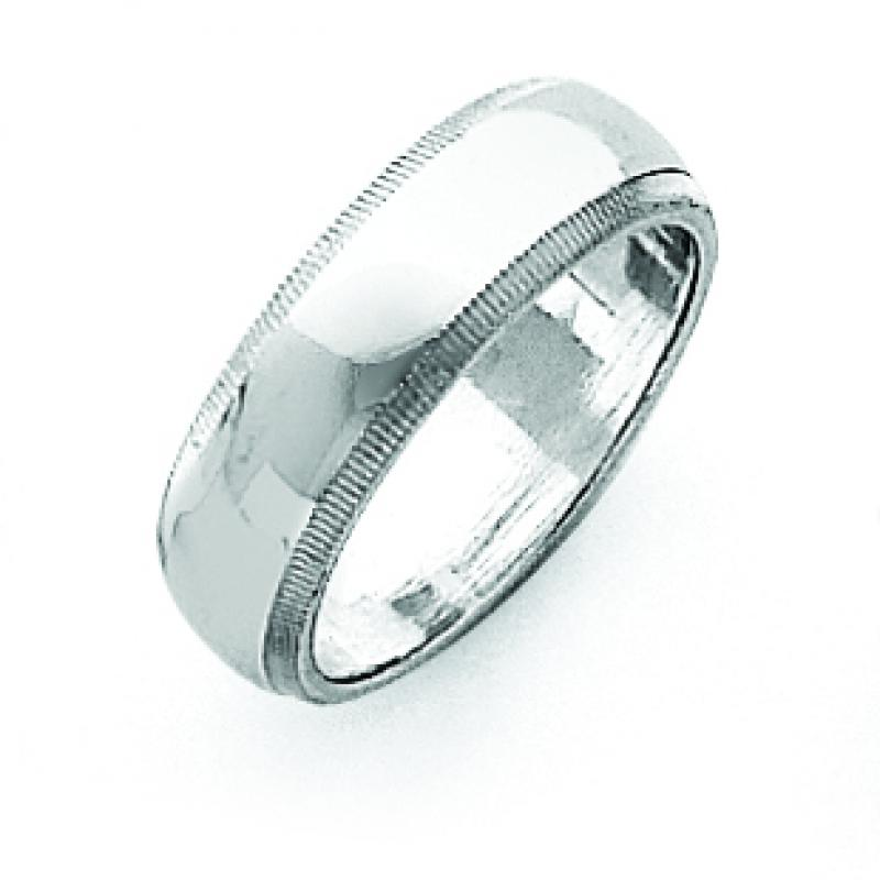 Sterling Silver 0.24 inch Milgrain Band