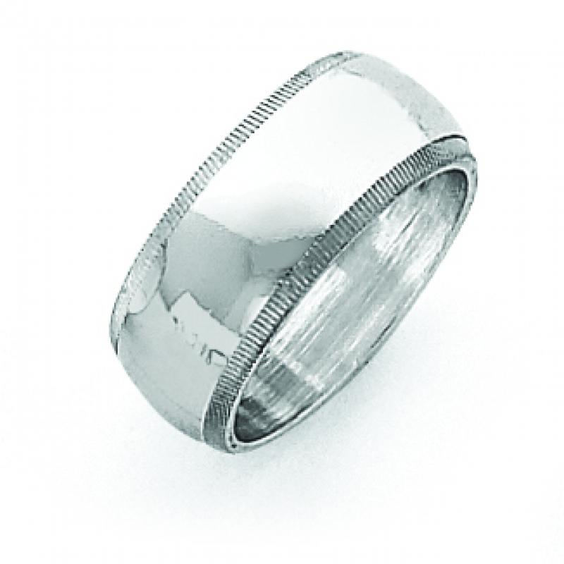 Sterling Silver 0.31 inch Milgrain Band