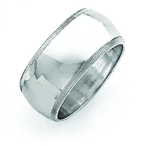 Sterling Silver 0.35 inch Milgrain Band