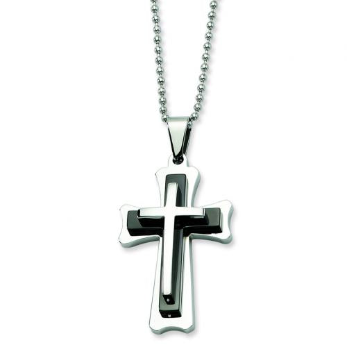 Stainless Steel Black Acrylic & Polished Cross Pendant  24 in. Necklace