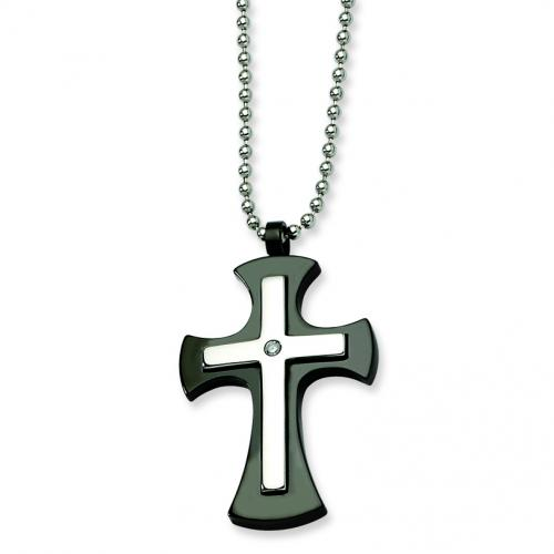 Stainless Steel Polished & Black-plated Cross Pendant 22in Necklace