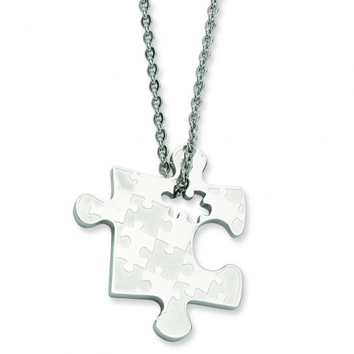 Stainless Steel Polished Puzzle Piece Pendant 22in Necklace