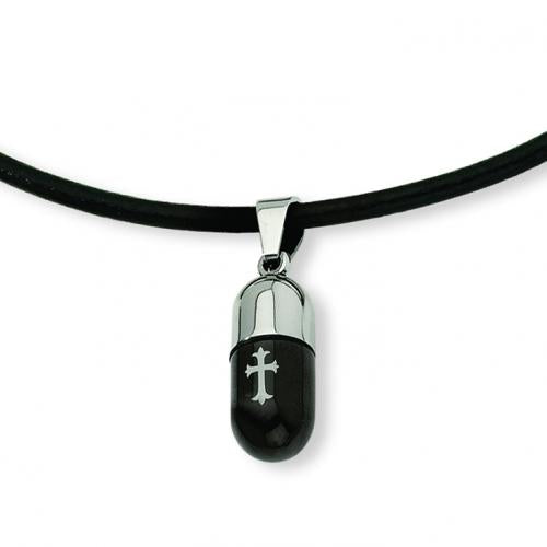 Stainless Steel Etched IP Black-plated Cross Capsule Pendant 18in Necklace