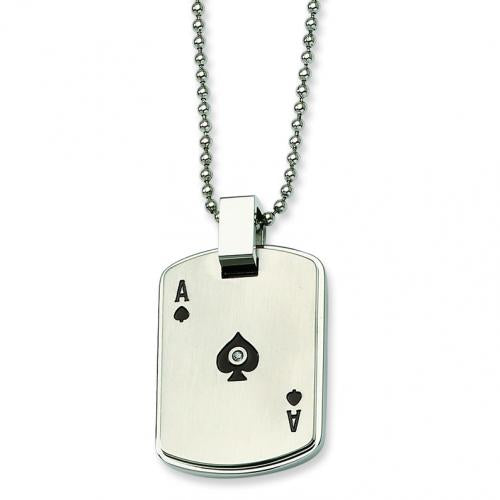 Stainless Steel Black Enamel Ace of Spades w CZ  Dog Tag Pendant Necklace