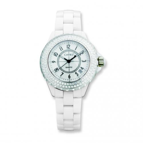Ladies Chisel White CeramicWhite Dial CZ Bezel Watch