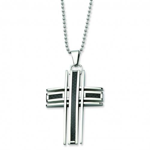 Stainless Steel Polished & Carbon Fiber Cross Pendant  24 in. Necklace