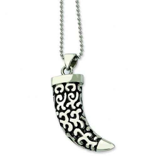 Stainless Steel Black Oxdized Fancy Claw Pendant 24 in. Necklace