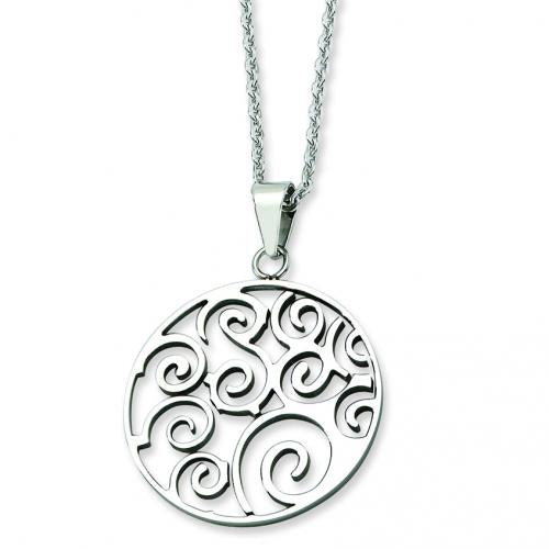 Stainless Steel Polished Fancy Swirl Pendant 22in Necklace