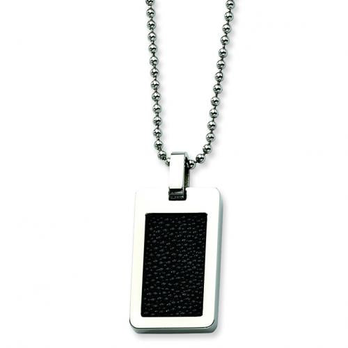 Stainless Steel Black Stingray Pendant 24in Necklace